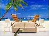 Beach theme Wall Mural 3d Wallpaper Custom Mural Beach Wooden Chair Coconut Tree Seascape Tv Background Wall Home Decor Living Room Wallpaper for Walls 3 D Puter