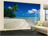 Beach theme Wall Mural Palm Tree On the Beach French Polynesia