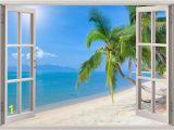 Beach Wall Mural Sticker Beach Wall Decal 3d Window Tropical Beach Coconut Palm Tree