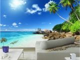 Beach Wall Murals Cheap Us $9 43 Off Custom 3d Poster Wallpaper Beach Scenery Living Room Bedroom Tv Background Wall Mural Wallpaper Decor Roll Blue Sky White Clouds In