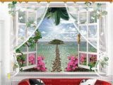 Beach Window Wall Mural 9 Styles 3020 Removable Beach Sea 3d Window Scenery Wall