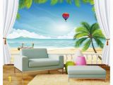 Beach Window Wall Mural High End Custom 3d Wallpaper Murals Wall Paper Hot Air Balloon Beach 3d Living Room Wallpaper Background Wall Home Decor Hd Widescreen