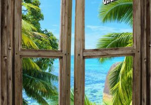 Beach Window Wall Murals Beach Cabin Window Mural 8 E Piece Peel and Stick Canvas