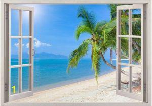 Beach Window Wall Murals Beach Wall Decal 3d Window Tropical Beach Coconut Palm Tree