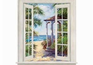 Beach Window Wall Murals Coastal Window Gazebo On Beach Wall Mural ❤ Liked On