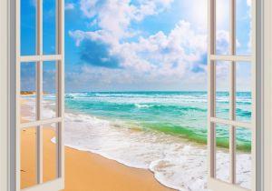 Beach Window Wall Murals Tropical Beach Window Cling Ocean Print Suncatcher