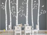 Beautiful Birch Tree Wall Mural Wall Decal Kids Nursery Decals Birch Trees Wall Decal Tree Wall Mural Stickers Nursery Tree and Birds Wall Art Nature Wall Decals Decal