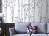 Beautiful Birch Tree Wall Mural Wild Woods Wallpaper Birch Tree White Nature Fice Decor Nursery Woodland