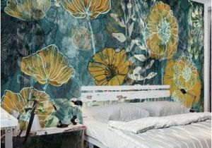 Beautiful Painted Wall Murals Fantasy Fresh Blue Background Abstract Floral Pattern Gesang Flower