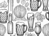 Beer Bottle Coloring Page Graphic Glasses Of Beer Bottles Barrels Hops and Malts Vintage