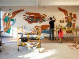Best Paint for Murals Indoors where I Work Inside the Plaster and Mural Studios at Evergreene