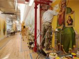Best Paint for Murals Indoors where I Work Inside the Plaster and Mural Studios at Evergreene