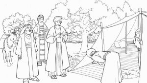 Bible Story Coloring Pages for Kids Abraham and Three Visitors Coloring Page