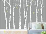 Birch forest Wall Mural Designyours Set Of 8 Birch Tree Wall Decal Nursery Big White Tree Wall Deacl Vinyl Tree Wall Decals for Kids Rooms with Fliying Birds Wall Art Decor