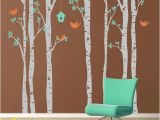 Birch forest Wall Mural Vinyl Wall Decal Birch Trees and Birds Extra Wall