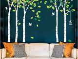 Birch Tree forest Wall Mural Fymural 5 Trees Wall Decals forest Mural Paper for Bedroom Kid Baby Nursery Vinyl Removable Diy Decals 103 9×70 9 White Green
