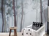 Birch Tree forest Wall Mural Nature forest Wall Mural Peel and Stick Gloomy Trees