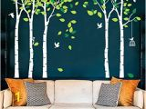 Birch Tree Wall Mural Diy Amazon Fymural 5 Trees Wall Decals forest Mural Paper for