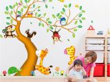 Bird and Owl Tree Wall Mural Set Cartoon Animal Zoo 3d Tree Wall Sticker Kids Baby Rooms Home Decoration Owl Birds Wall Art Decals Wallpaper Mural Wall Cling S Wall Clings