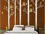 Bird and Owl Tree Wall Mural Set Designyours 5 Big Birch Tree Decal with Owl Birds Wall Stickers Tree Nursery Tree Wall Decals Vinyl Tree Wall Decal