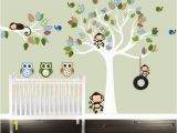 Bird and Owl Tree Wall Mural Set Monkeys Tire Swing Boys Owl Wall Decal Set Nursery