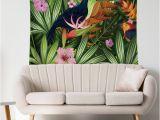 Birds Of Paradise Wall Mural Großhandel Papagei Flamingo Vögel Tapisserie Wandkunst Wandteppiche Startseite Dekorative Tür Vorhang Wohnzimmer Bettdecke Blatt Polyester Tischdecke