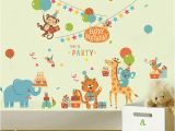 Birthday Party Wall Murals Cartoon Animals Birthday Party Wall Stickers for Kids Boys Girls Room Decor Air Balloon Cake Gift Party Wall Graphic Poster Wall Decals Wall Decor