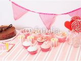 Birthday Party Wall Murals Dessert Table In Pink at Girls Birthday Party Wall Mural