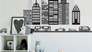 Black and White Cityscape Wall Murals Cityscape Wall Decal Black and White City Skyline Wall Decal