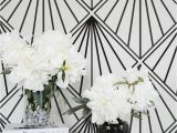 Black and White Flower Wall Mural Art Deco Wallpaper Regular or Self Adhesive Removable