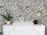 Black and White Flower Wall Mural Black and White Wallpaper Nursery Wall Mural Floral