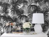 Black and White Flower Wall Mural Black Palms Removable Wallpaper Traditional Black Print