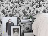 Black and White Flower Wall Mural Exotic Variation Removable Wallpaper Traditional Blue