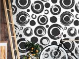 Black and White Flower Wall Mural Removable Wallpaper Mural Peel & Stick Circles Pattern Black