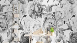 Black and White forest Mural Wallpaper Custom Mural Wallpaper 3d Black and White Peony Wall Painting Living