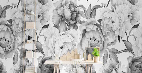 Black and White forest Mural Wallpaper Custom Mural Wallpaper 3d Black and White Peony Wall Painting Living
