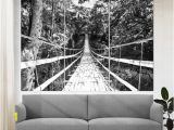 Black and White forest Wall Mural Bamboo Bridge Over the River In Tropical forest Canvas Print Bamboo forest Wall Art Nature Wall Art Tropical Fice Decor forest