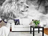 Black and White forest Wall Mural Custom Wallpaper Mural Black and White Animal Lion Papier Peint Mural 3d Living Room sofa Bedroom Background Decor Paper Landscape Wallpapers