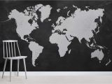 Black and White Mural Ideas Black World Map Wallpaper Mural