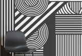 Black and White Rose Wall Mural Geometric Black & White Wallpaper