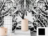 Black and White Tree Wall Mural Monochrome Removable Wallpaper Leaf Self Adhesive
