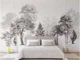 Black and White Tree Wall Mural Sumotoa 3d Mural Wall Stickers Decoration Custom Minimalist