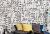 Black and White Wall Mural Wallpaper Black and White City Sketch Mural