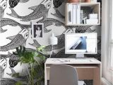 Black and White Wall Mural Wallpaper Fish Koi Removable Wallpaper Black and White Wall Mural