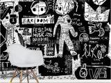 Black and White Wall Mural Wallpaper Graffiti Black and White