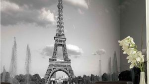Black and White Wall Murals Of Paris Eiffel tower Mural Wallpaper Black and White