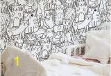 Black and White Wallpaper Murals for Walls Doodle Cats Pattern Black and White Wallpaper for Kids Room Funny