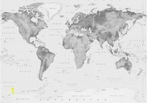 Black and White World Map Wall Mural Black & White Relief World Map with Antarctica