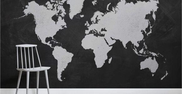 Black and White World Map Wall Mural Black World Map Wallpaper Mural