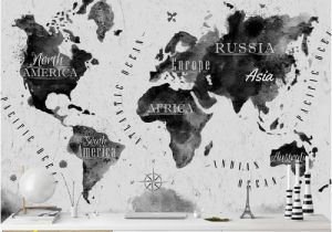 Black and White World Map Wall Mural World Map In Water Colours Semi Gloss Wallpaper Roll East Urban Home